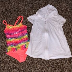 Girls size 6 swimsuit and cover up